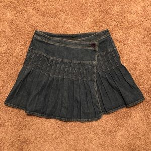 Dresses & Skirts - Wrap-Around Denim Pleated Skirt